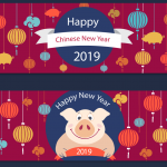 The Year of Pig Lantern Banner 2019 Vector