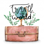 Painted Globe Travel Globe and Luggage Box 2019 Vector