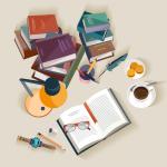 Creative desk top view 2019 Vector