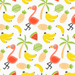 Sweet Flamingo and Fruit Seamless Background 2019 Vector