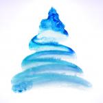 Blue Watercolor Tree 2019 Vector
