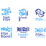 Blue fish logo 2019 Vector