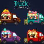 Four Kinds of Cute Fast Food Cars 2019 Vector