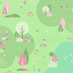 Spring suburban landscape illustration 2019 Vector