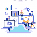 Cloud computing landing page 2019 Vector