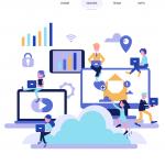 Cloud computing landing page 2019 Vector