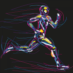 Running Character Lines 2019 Vector