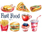 Painted Fast Food 2019 Vector