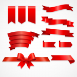 Red ribbon decorative elements 2019 Vector