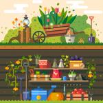 Garden Landscape and Garden Tools 2019 Vector