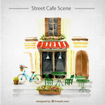 Coffee shop hand-painted scenes 2019 Vector