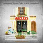 Coffee shop hand-painted scenes 2019 Vector