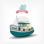Design of Cartoon Fishing Vessel 2019 Vector