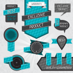 Blue origami label 2019 Vector