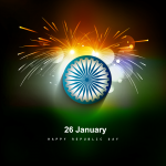 Tricolor card fireworks 2019 Vector