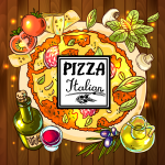 Hand painted pizza 2019 Vector