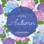Autumn Card Vector Map of Hydrangea in Watercolor Painting 2019 Vector